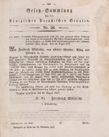 Gesetz-Sammlung für die Königlichen Preussischen Staaten, 30. September 1847, nr. 36.