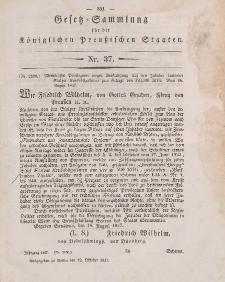 Gesetz-Sammlung für die Königlichen Preussischen Staaten, 12. Oktober 1847, nr. 37.