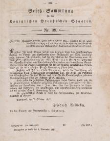Gesetz-Sammlung für die Königlichen Preussischen Staaten, 6. November 1847, nr. 39.
