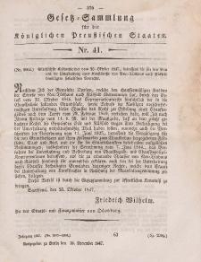 Gesetz-Sammlung für die Königlichen Preussischen Staaten, 26. November 1847, nr. 41.