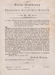 Gesetz-Sammlung für die Königlichen Preussischen Staaten, 16. Dezember 1847, nr. 43.