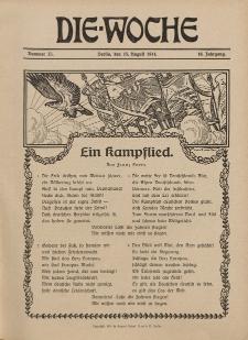 Die Woche : Moderne illustrierte Zeitschrift, 16. Jahrgang, 15. August 1914, Nr 33