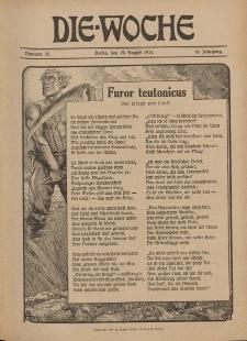 Die Woche : Moderne illustrierte Zeitschrift, 16. Jahrgang, 29. August 1914, Nr 35