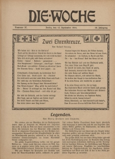 Die Woche : Moderne illustrierte Zeitschrift, 16. Jahrgang, 12. September 1914, Nr 37