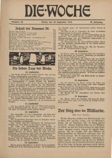 Die Woche : Moderne illustrierte Zeitschrift, 16. Jahrgang, 29. September 1914, Nr 39