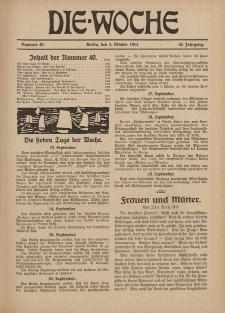 Die Woche : Moderne illustrierte Zeitschrift, 16. Jahrgang, 3. Oktober 1914, Nr 40