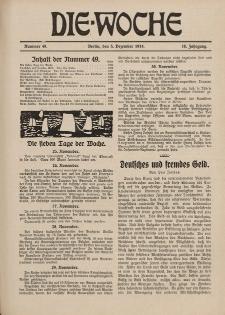 Die Woche : Moderne illustrierte Zeitschrift, 16. Jahrgang, 5. Dezember 1914, Nr 49