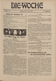 Die Woche : Moderne illustrierte Zeitschrift, 19. Jahrgang, 21. Juli 1917, Nr 29