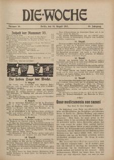 Die Woche : Moderne illustrierte Zeitschrift, 19. Jahrgang, 18. August 1917, Nr 33