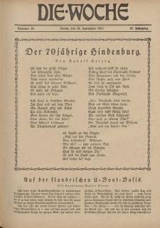 Die Woche : Moderne illustrierte Zeitschrift, 19. Jahrgang, 29. September 1917, Nr 39