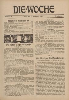 Die Woche : Moderne illustrierte Zeitschrift, 17. Jahrgang, 18. September 1915, Nr 38