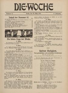Die Woche : Moderne illustrierte Zeitschrift, 17. Jahrgang, 20. März 1915, Nr 12