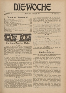 Die Woche : Moderne illustrierte Zeitschrift, 18. Jahrgang, 5. August 1916, Nr 32