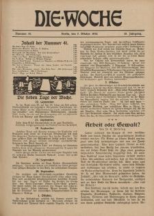 Die Woche : Moderne illustrierte Zeitschrift, 18. Jahrgang, 7. Oktober 1916, Nr 41
