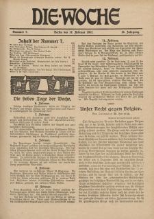 Die Woche : Moderne illustrierte Zeitschrift, 19. Jahrgang, 17. Februar 1917, Nr 7