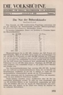 Die Volksbühne : Zeitschrift für soziale Theaterpolitik und Kunstpflege, 4 Jahrgang, August 1929, Nr 5