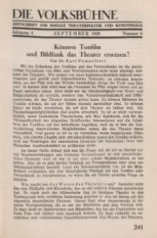 Die Volksbühne : Zeitschrift für soziale Theaterpolitik und Kunstpflege, 4 Jahrgang, September 1929, Nr 6
