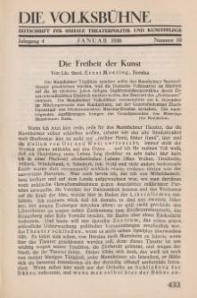 Die Volksbühne : Zeitschrift für soziale Theaterpolitik und Kunstpflege, 4 Jahrgang, Januar 1930, Nr 10