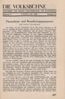 Die Volksbühne : Zeitschrift für soziale Theaterpolitik und Kunstpflege, 4 Jahrgang, Februar 1930, Nr 11