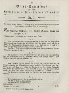 Gesetz-Sammlung für die Königlichen Preussischen Staaten, 26. Februar, 1850, nr. 7.