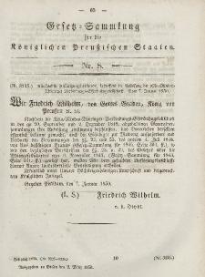 Gesetz-Sammlung für die Königlichen Preussischen Staaten, 2. März, 1850, nr. 8.