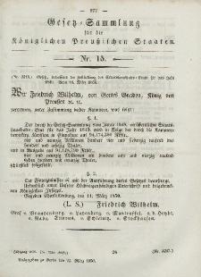 Gesetz-Sammlung für die Königlichen Preussischen Staaten, 23. März, 1850, nr. 15.