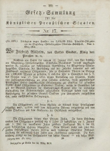 Gesetz-Sammlung für die Königlichen Preussischen Staaten, 24. März, 1850, nr. 17.