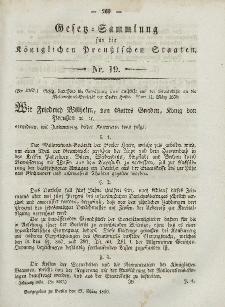 Gesetz-Sammlung für die Königlichen Preussischen Staaten, 27. März, 1850, nr. 19.