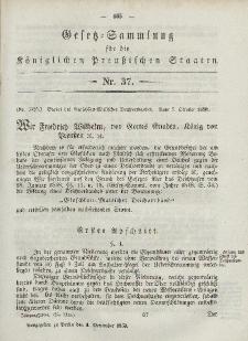 Gesetz-Sammlung für die Königlichen Preussischen Staaten, 4. November, 1850, nr. 37.