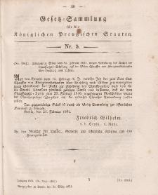 Gesetz-Sammlung für die Königlichen Preussischen Staaten, 31. März, 1851, nr. 5.