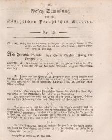 Gesetz-Sammlung für die Königlichen Preussischen Staaten, 27. Mai, 1851, nr. 15.