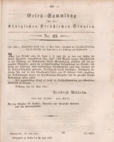 Gesetz-Sammlung für die Königlichen Preussischen Staaten, 28. Juni, 1851, nr. 23.