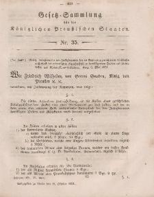 Gesetz-Sammlung für die Königlichen Preussischen Staaten, 18. Oktober, 1851, nr. 35.