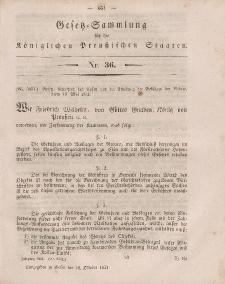 Gesetz-Sammlung für die Königlichen Preussischen Staaten, 18. Oktober, 1851, nr. 36.