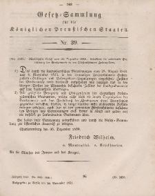 Gesetz-Sammlung für die Königlichen Preussischen Staaten, 24. November, 1851, nr. 39.