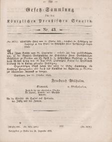 Gesetz-Sammlung für die Königlichen Preussischen Staaten, 31. Dezember, 1851, nr. 43.