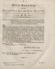 Gesetz-Sammlung für die Königlichen Preussischen Staaten, 10. April, 1852, nr. 6.