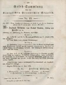 Gesetz-Sammlung für die Königlichen Preussischen Staaten, 24. Mai, 1852, nr. 15.