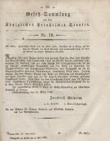 Gesetz-Sammlung für die Königlichen Preussischen Staaten, 5. Juni, 1852, nr. 19.