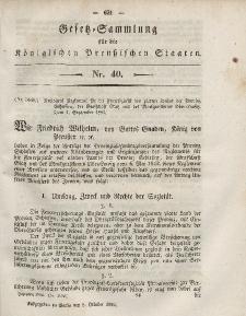 Gesetz-Sammlung für die Königlichen Preussischen Staaten, 8. Oktober, 1852, nr. 40.