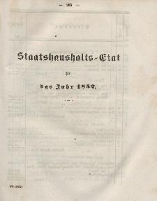 Gesetz-Sammlung für die Königlichen Preussischen Staaten, (Staatshaushalts-Etat füf das Jahr 1852)