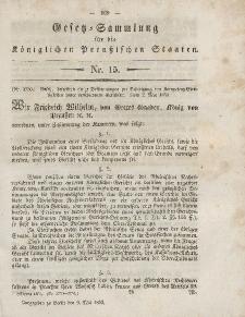 Gesetz-Sammlung für die Königlichen Preussischen Staaten, 9. Mai, 1853, nr. 15.