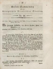 Gesetz-Sammlung für die Königlichen Preussischen Staaten, 20. Juni, 1853, nr. 24.