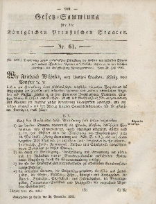 Gesetz-Sammlung für die Königlichen Preussischen Staaten, 28. November, 1853, nr. 61.