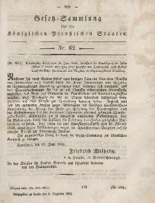 Gesetz-Sammlung für die Königlichen Preussischen Staaten, 6. Dezember, 1853, nr. 62.