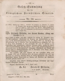 Gesetz-Sammlung für die Königlichen Preussischen Staaten, 4. Mai, 1854, nr. 14.