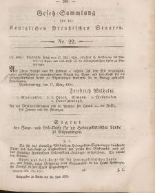 Gesetz-Sammlung für die Königlichen Preussischen Staaten, 22. Juni, 1854, nr. 22.