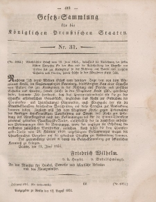 Gesetz-Sammlung für die Königlichen Preussischen Staaten, 12. August, 1854, nr. 31.