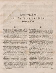 Gesetz-Sammlung für die Königlichen Preussischen Staaten (Sachregister), 1854