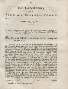 Gesetz-Sammlung für die Königlichen Preussischen Staaten, 19. März, 1855, nr. 9.